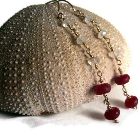Ruby and moonstone gold drop earrings