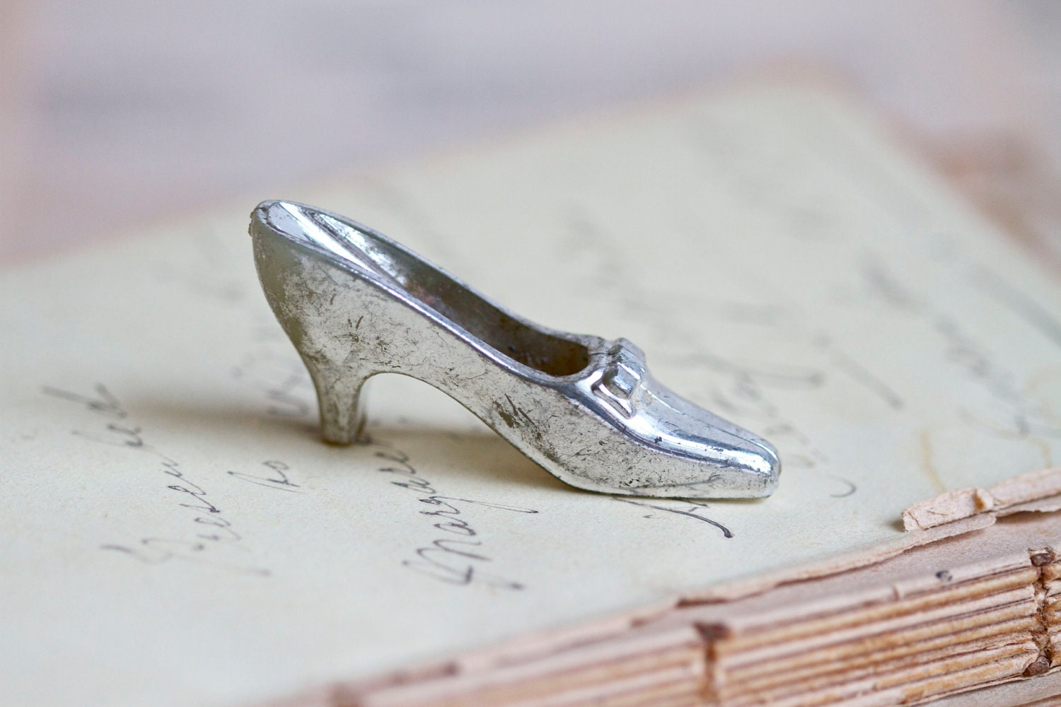 Miniature Baroque Shoe - Cinderella Slipper Figurine with a Dusty Silvery Finnish - Meanglean
