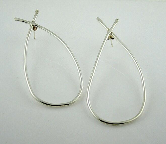 Big hoop Earrings -  Contemporary Design Jewelry - Sterling Silver - serpilguneysudesigns