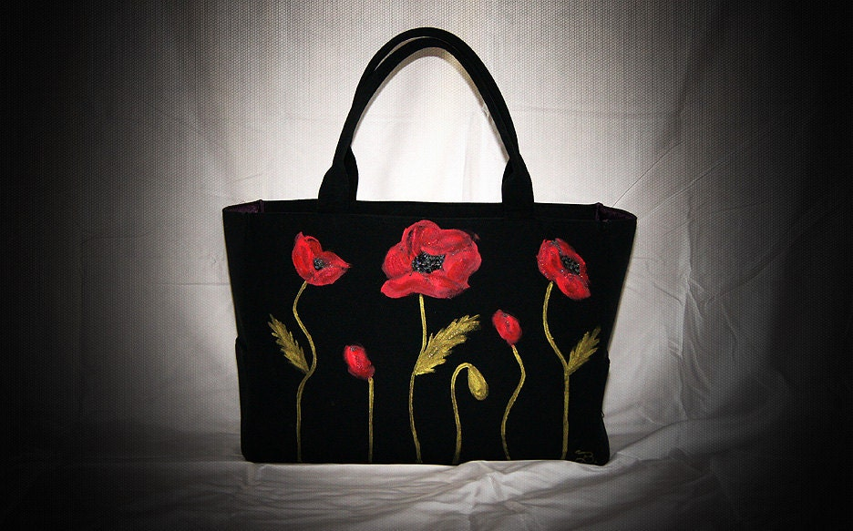 Red Poppies Large Black Canvas Tote