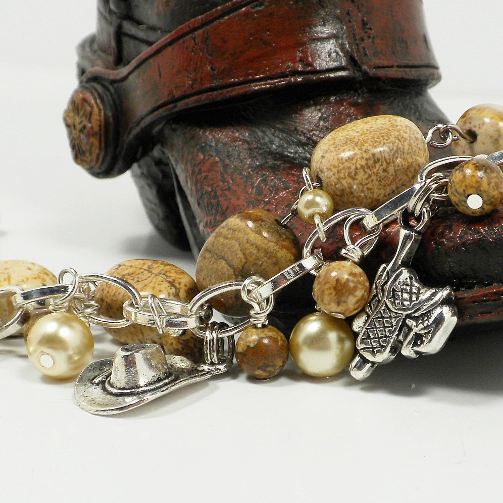 Cowgirl Western Bracelet with Brown and Tan Picture Jasper, Faux Pearls and Charms