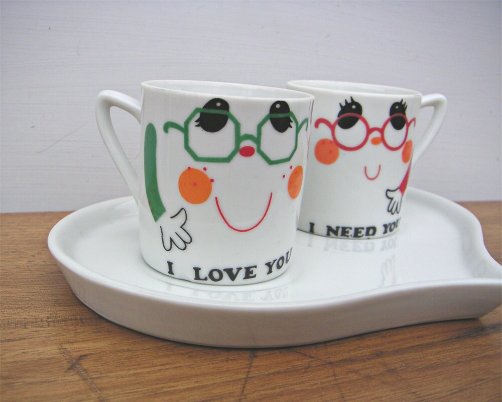 Vintage Coffee Romance Espresso Cups and Tray Set