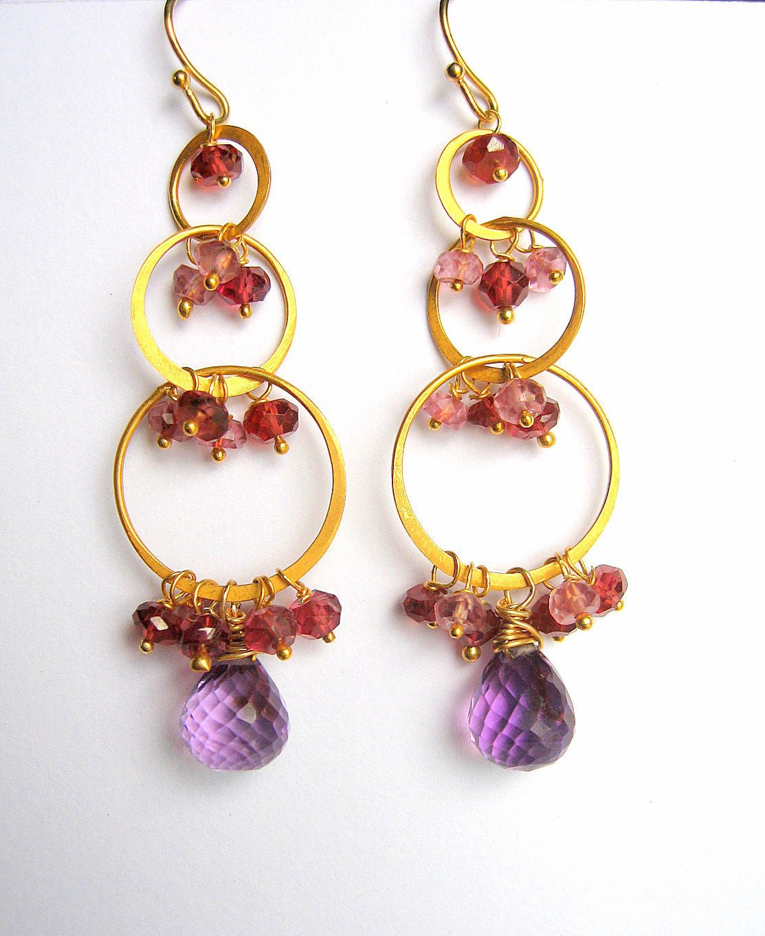 Cascading Gemstone Earrings, Amethyst, Sapphire, Garnet, Gold Vermeil Teardrop Hoops