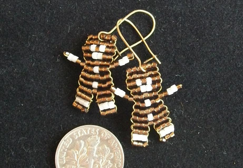 Beaded Gingerbread Men Earrings