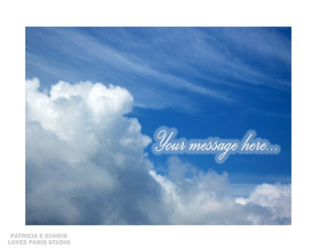 "Skywriting Personalized Photo Poster,  ""Your Words Of Love Written In The Sky""  20 x 16,  Photo Poster Print"
