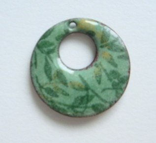Green Leaves Enameled pendant