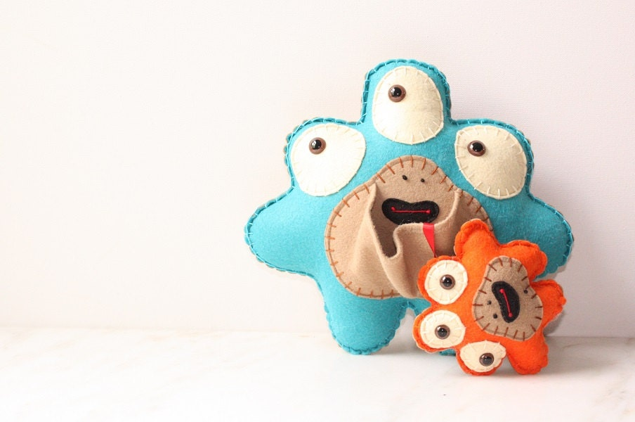 Plush Felt Monster with Baby, Teal and Orange Stuffed Monster Felt Soft Toy, Cute Stuffed Animal Plushie