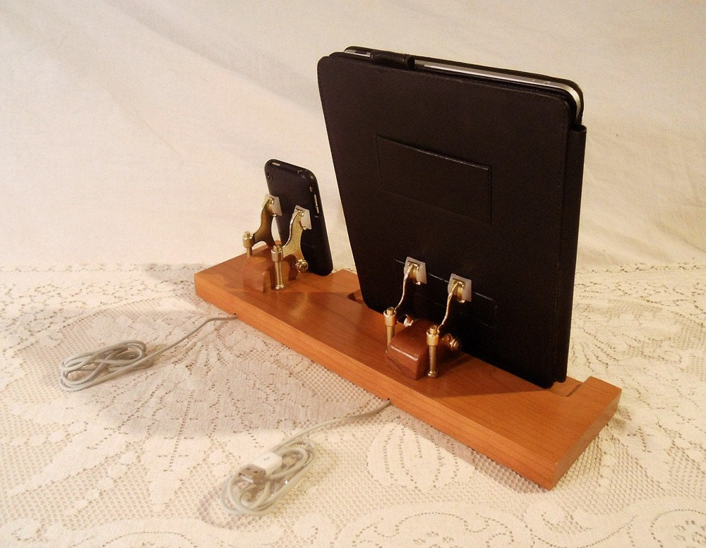 DUAL Unit - iPad - iPhone - iPod - Dock - Sync and Charging iDock Station - Fits Book Style Cases - Custom Built Cherry Model..