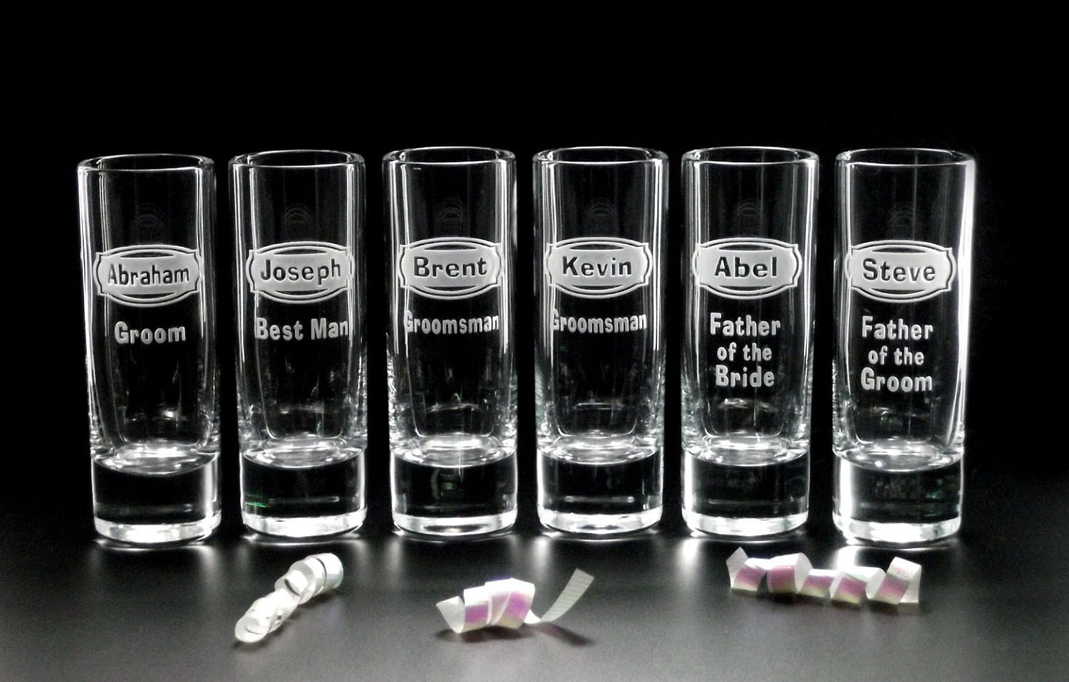 6 WEDDING Shot GLASSES - 'DESTINATION' Wedding Groomsmen Favors, Best Man Gifts, Father - Personalized Wedding Shot Glasses - Distinctglass