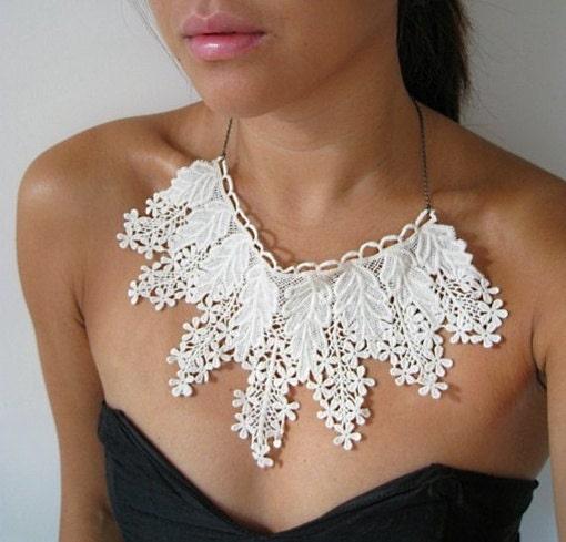 1 Pcs,White cotton crocheted lace collar,Fabric,Embroidery,Wedding,Mesh,Bridal,Cotton(W13) - seasonalsupplies
