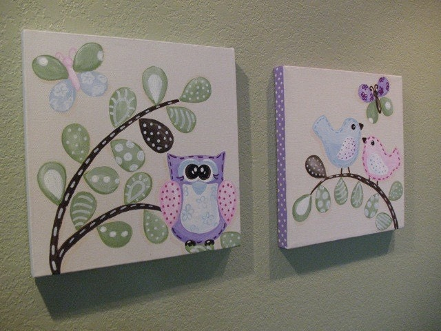Penelope Owl Birds and Butterflies Canvas set 10x10 Made to Order