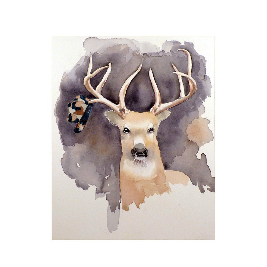 Nature Art Watercolor Print of Deer Antlers a Stag in the Forest with a Large Rack with the Hunter's Hat: Apartment Men Women Kids under 25 - LaBerge
