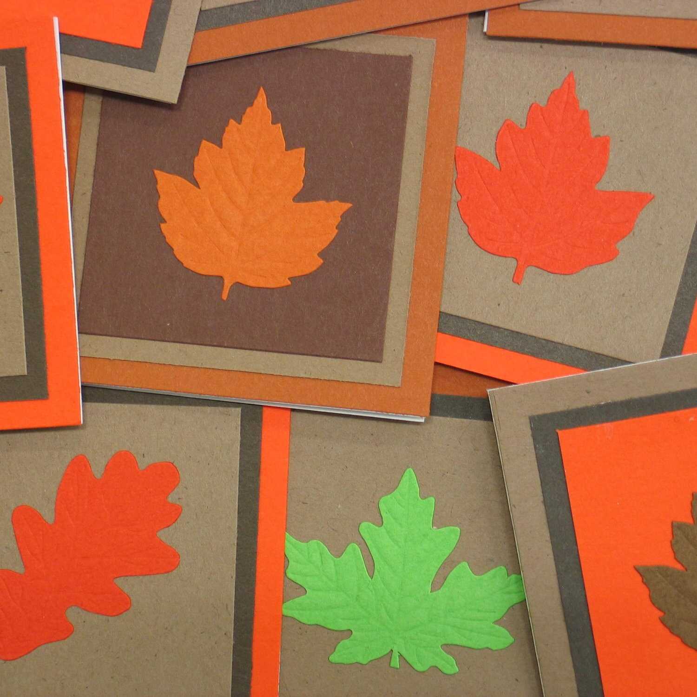 Autumn Leaves Mini Cards (set of 5) Thanksgiving - SandrasCardShop