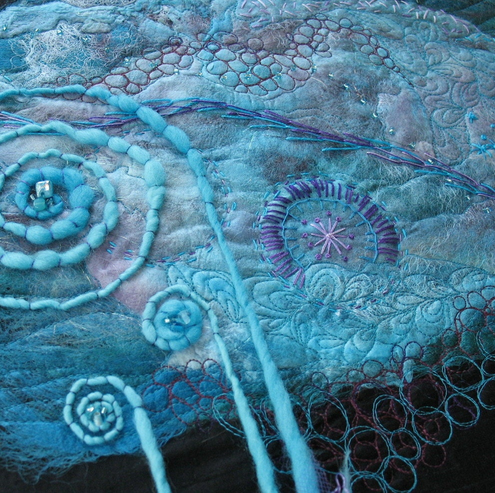 Silk Fusion Fibre Art, Turquoise and Purple - KathyKinsella