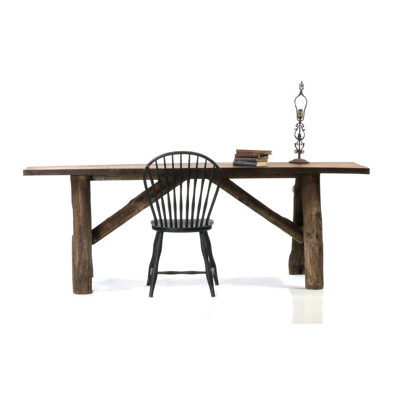 Antique Slab Table, Large White Oak Dining Console - DailyMemorandum