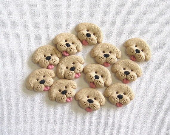 6 Puppy Dog Sewing Buttons Light Brown