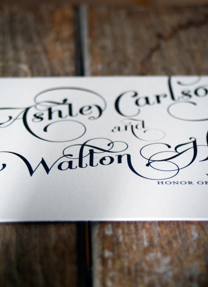 Elegant and Modern Calligraphy Script Wedding Invitation Shabby Chic