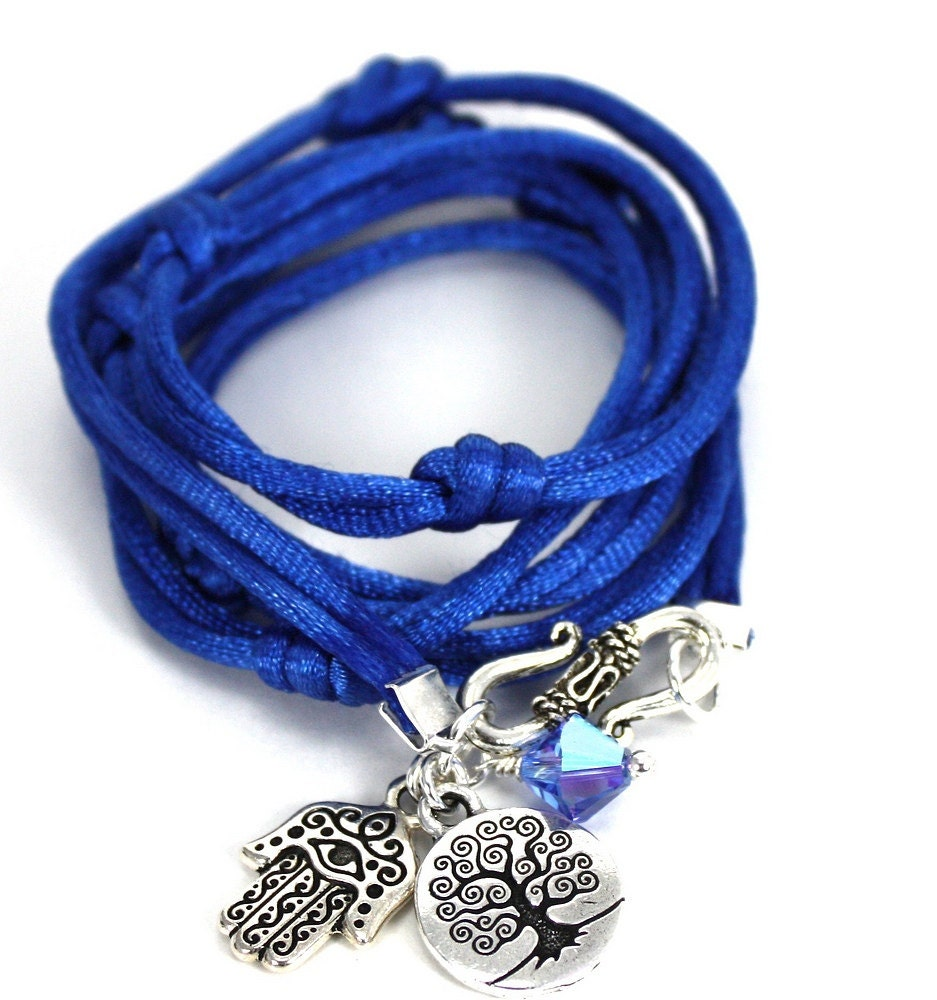 Blue Satin Cord Wrap Bracelet with Hamsa, Tree of Life, and Sapphire Swarovski Crystal - anjalicreations