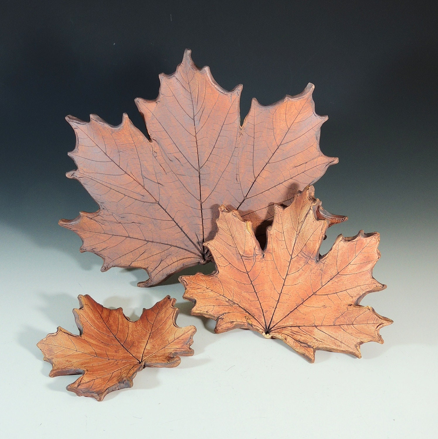 Maple Leaves Set of 3 / Bring the Outdoors In / Made with Real Leaves in Stoneware Clay / Fall or Autumn Decor / Fall Wedding Decor - CarolBroadleyPottery