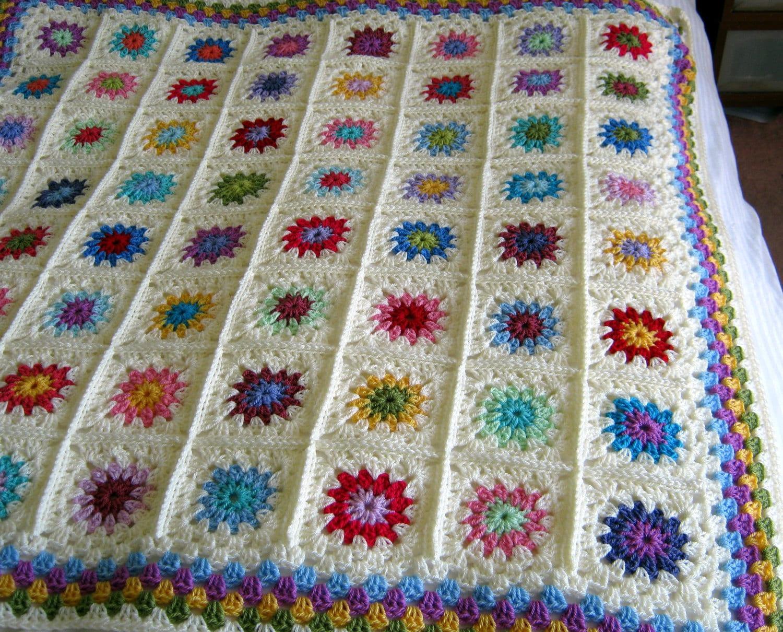 Petit Peony Crochet Pattern PDF Granny Square Blanket Chic