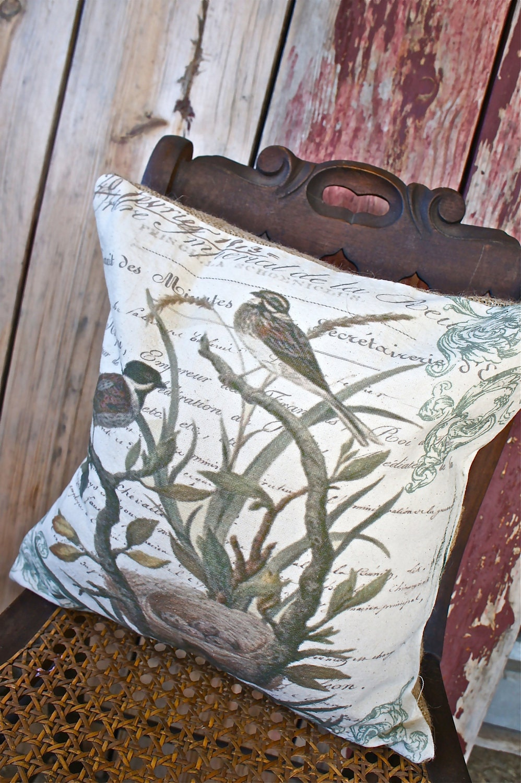 NEW осень-ручной рукопечатных Cover-16x16-Браун Подушка Птицы Throw Подушка
