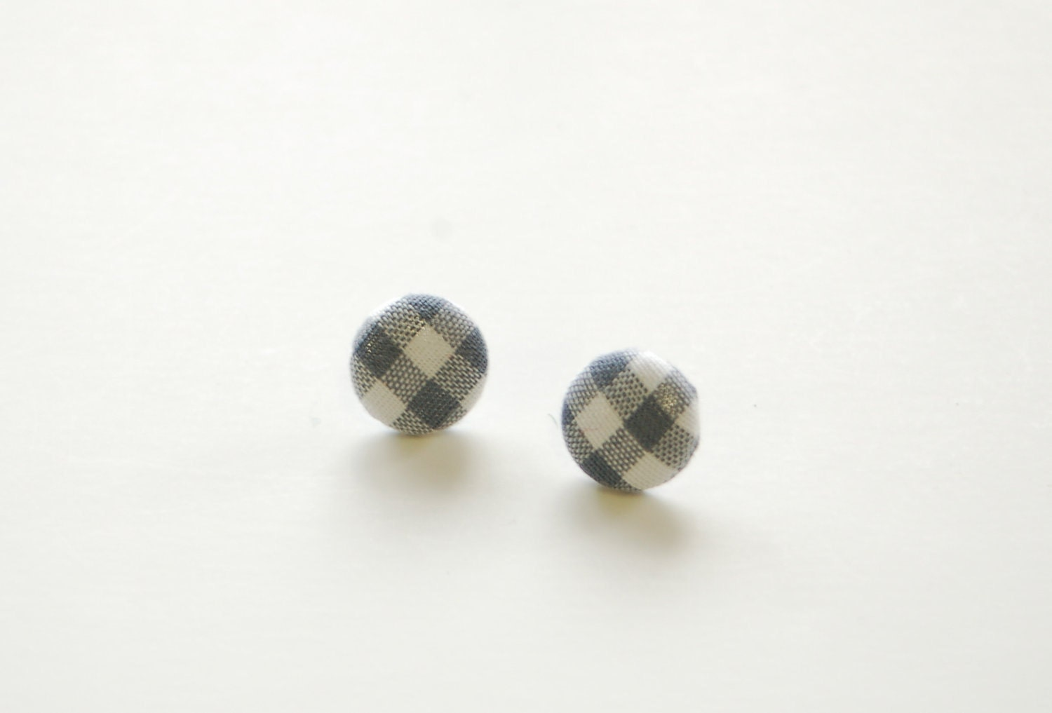 Vintage Gray Gingham Fabric Button Earrings on surgical steel posts - weestitchery
