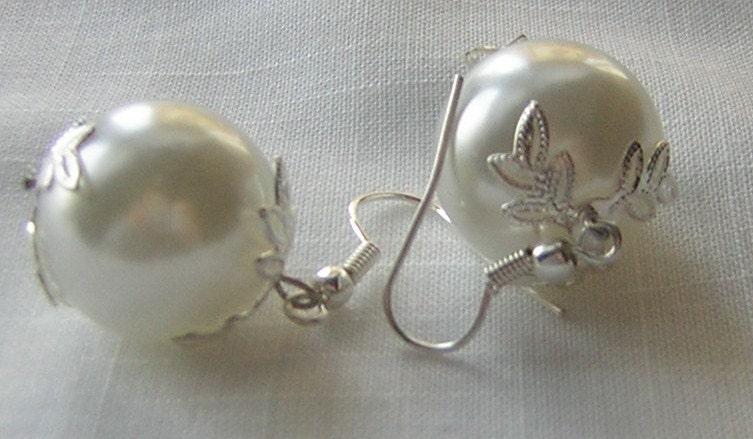 Big Pearl Bridal Earrings by CJW
