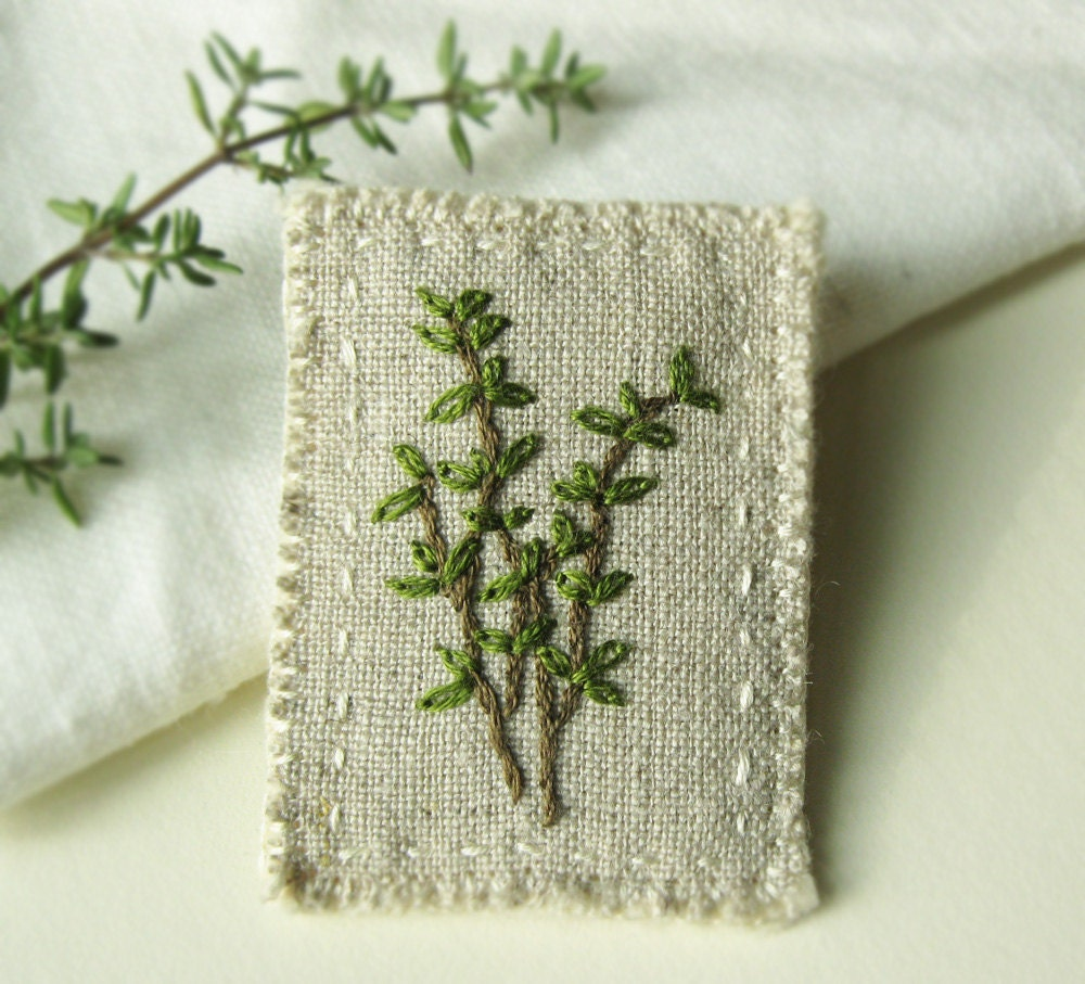 Thyme Embroidered Brooch - Sidereal