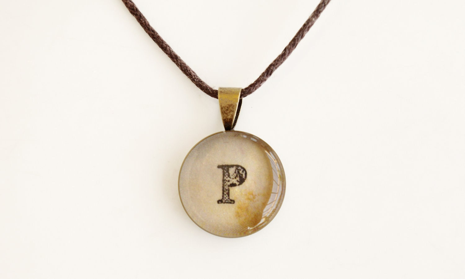 Alphabet Pendant, choose your initial,  FREE SHIPPING,custom order, personal, beige, earth tones