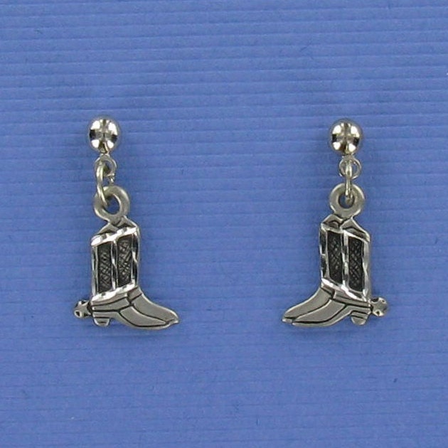 COWBOY BOOT EARRINGS - Pewter Posts with Ball