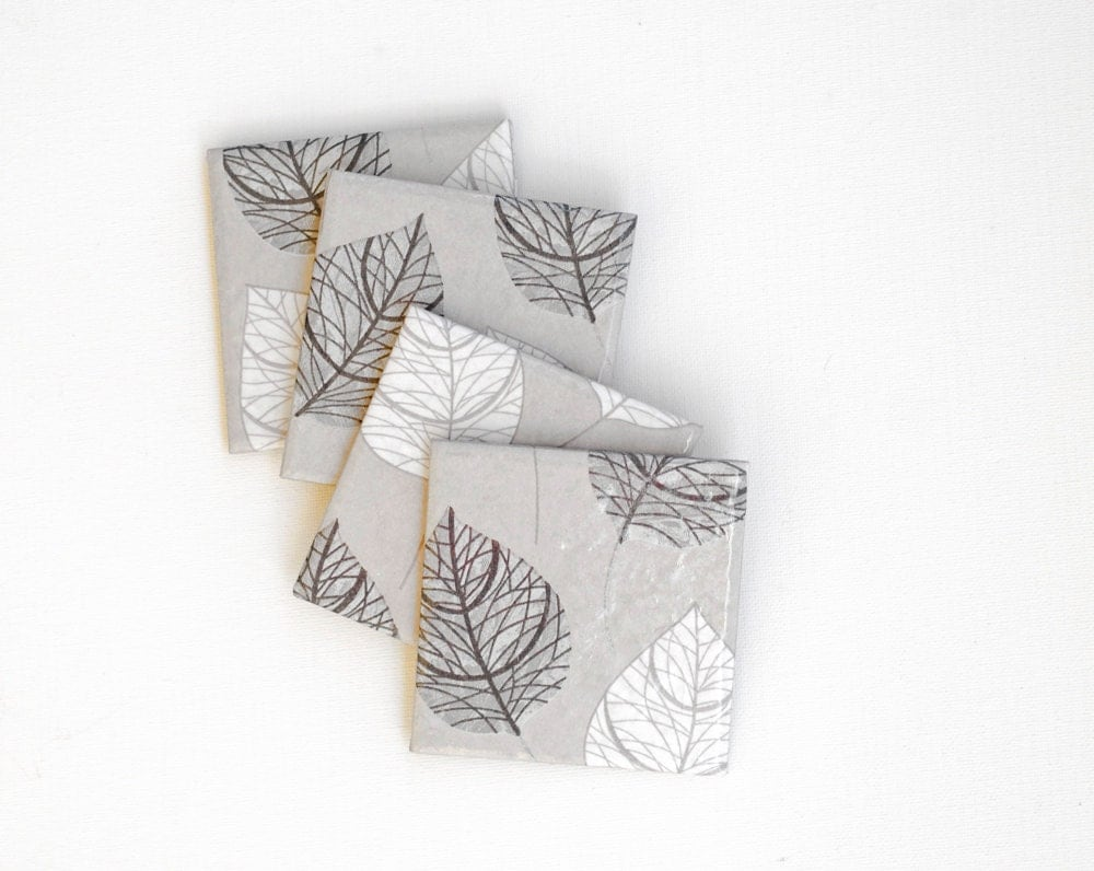 Coasters Grey White Leaves Taupe Metallic Autumn Winter Ceramic Coasters, set of 4 - Tilissimo