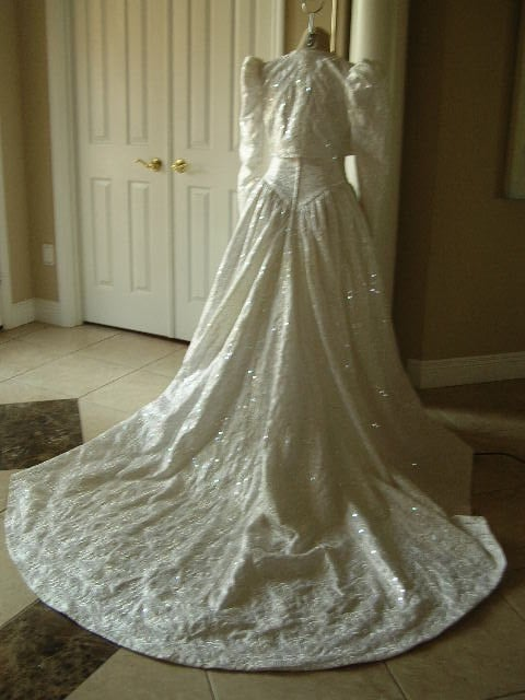 Vintage white brocade wedding dress with jacket fit for royalty BIN 445