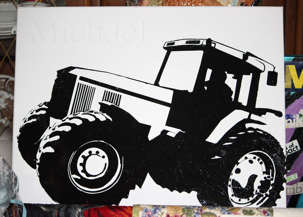 SALE - Modern Black and White Personalized Tractor Textured Print - 16x20 canvas original reproduction - I Was Bored Series