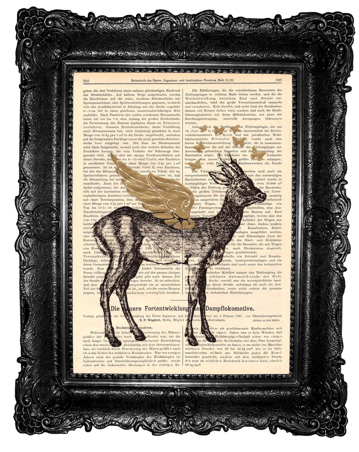 Deer with golden wings-  ORIGINAL ARTWORK  deer print Mixed Media HAND Painted, dictionary print - ArtElem