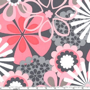 Pink & Grey Petal Flower Shower HALF-YARD From Michael Miller