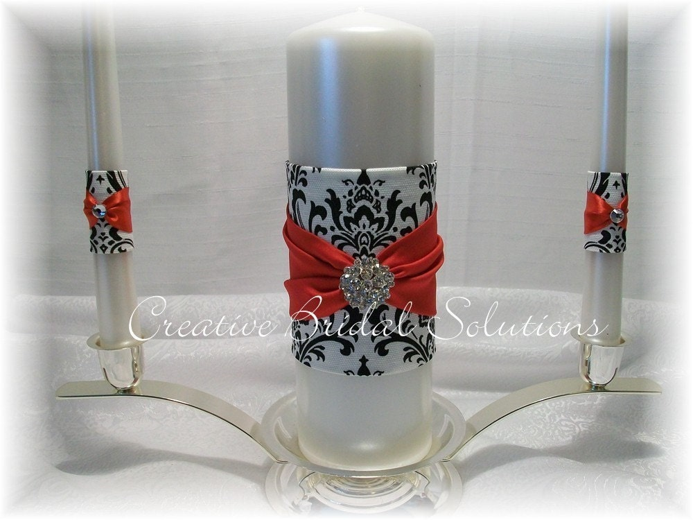 Black and White Madison Damask with Red Wedding Unity Candle Set