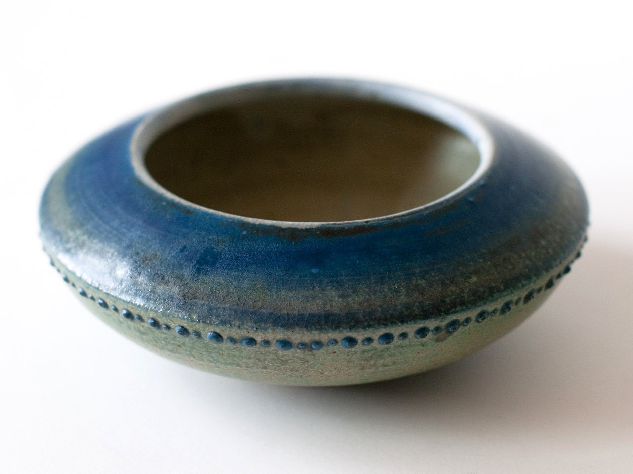 Ultramarine Bowl with Spotted Detailing, Stoneware