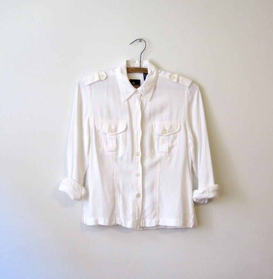 White Buttoned Blouse - jacksredbarn