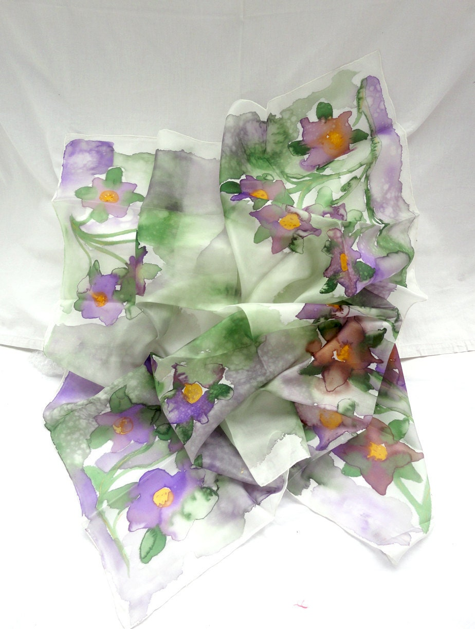 THALEIA. Hand Painted Square Silk Scarf. Olive Green, Purple Shawl Wrap. Floral Fashion. 35,4 x 35,4 in. (90x90cm). Ready to Ship. - TeresaMare