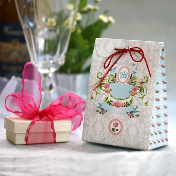 Printable DIY Gift Bag - by Petek Design, Shabby Chic Style. Spring Party, Wedding Decor. For Jewelry - petekdesign