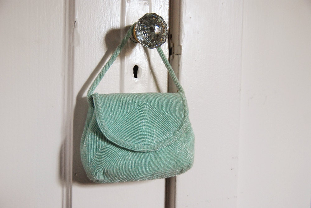 Vintage Seafoam Green Beaded Purse - Mint Condition With Original Mirror