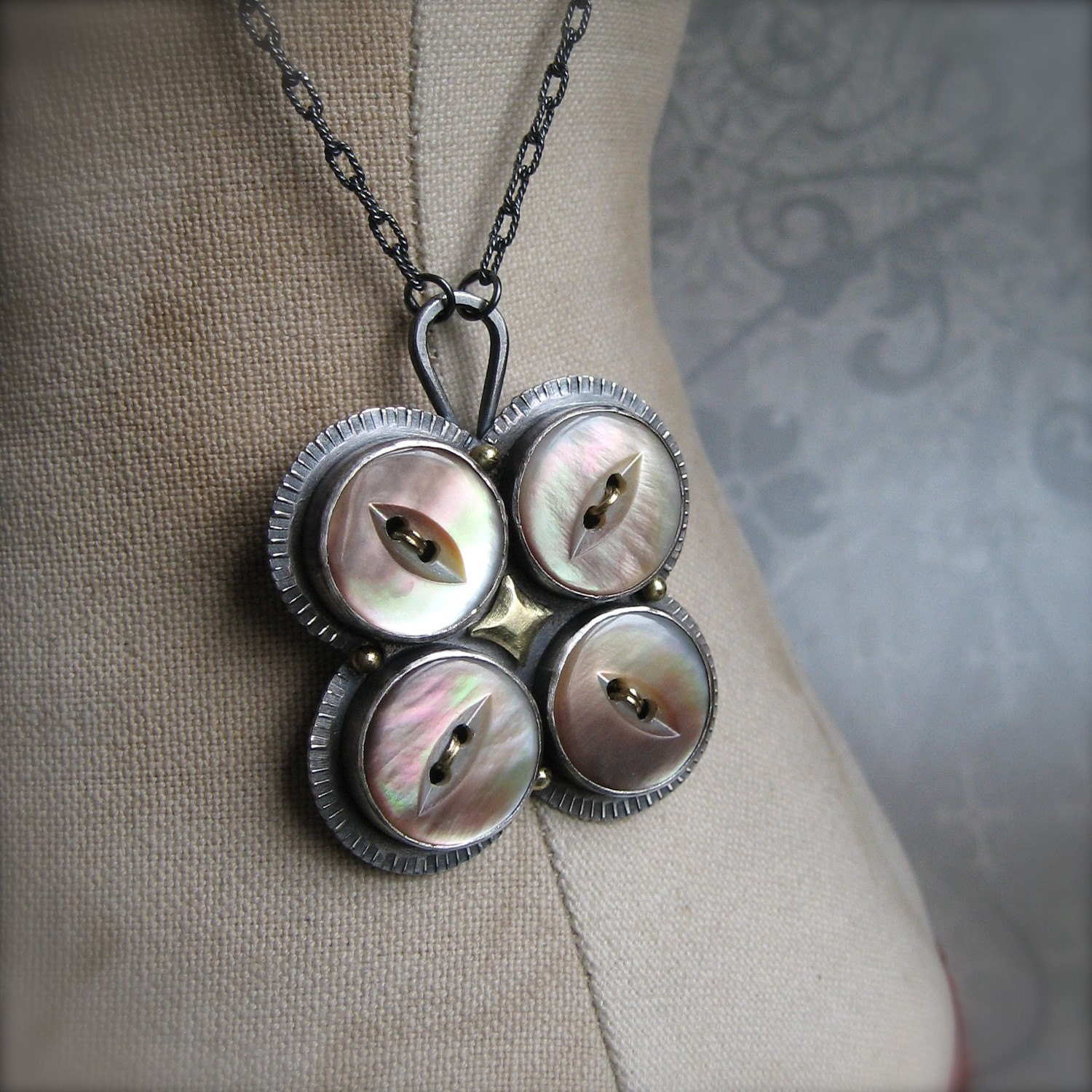 PENDANT with four vintage buttons - quenchmetalworks