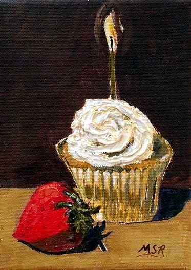 Birthday Cupcake and Strawberry Oil Painting