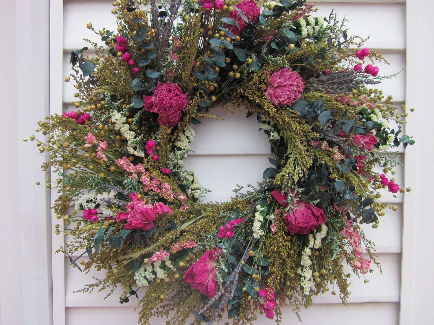 Dried Flower Wreath Fragrant Peony Lavender and other Flowers - NotJustWeeds
