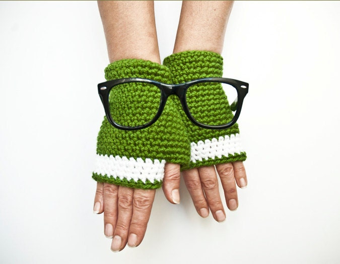 Green fingerless gloves arm warmers mittens-mother's Day-crocheted fingerless - fatoss