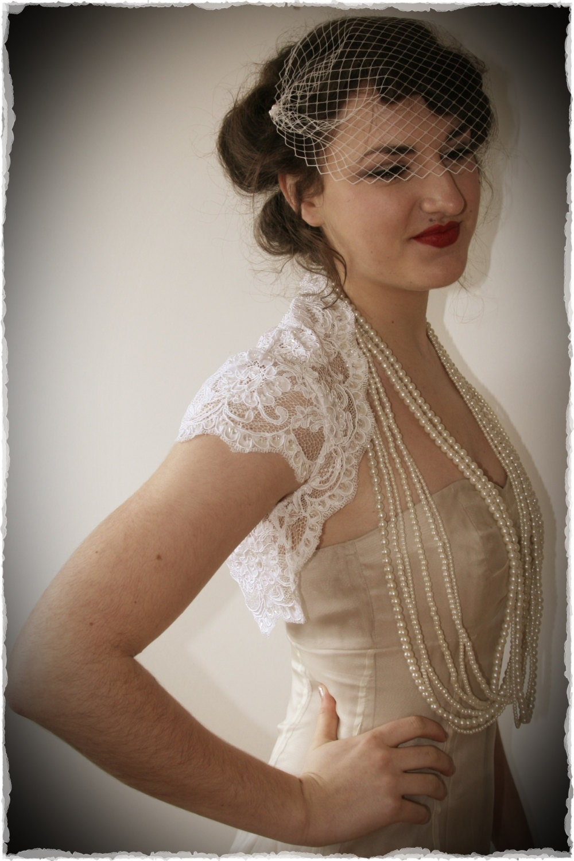 French Alechon Lace Bridal Shrug - Vintage Inspired Wedding Lace Bolero in White - bonzie
