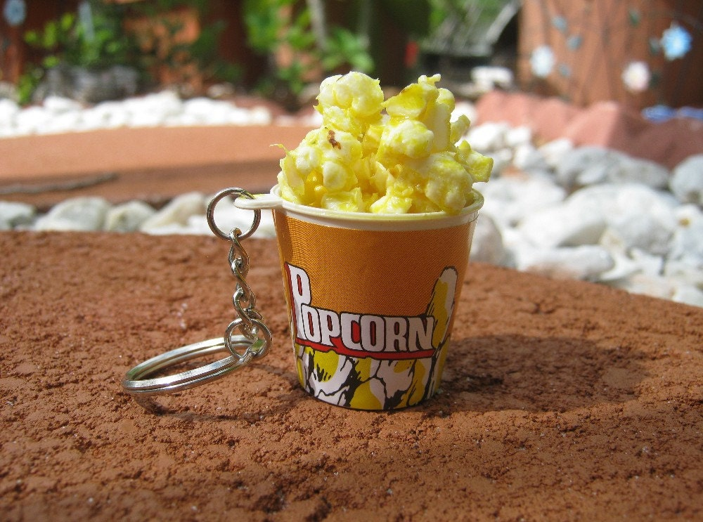 SALE Bucket of Freshly Popped Popcorn Keychain by PinkFrog4U