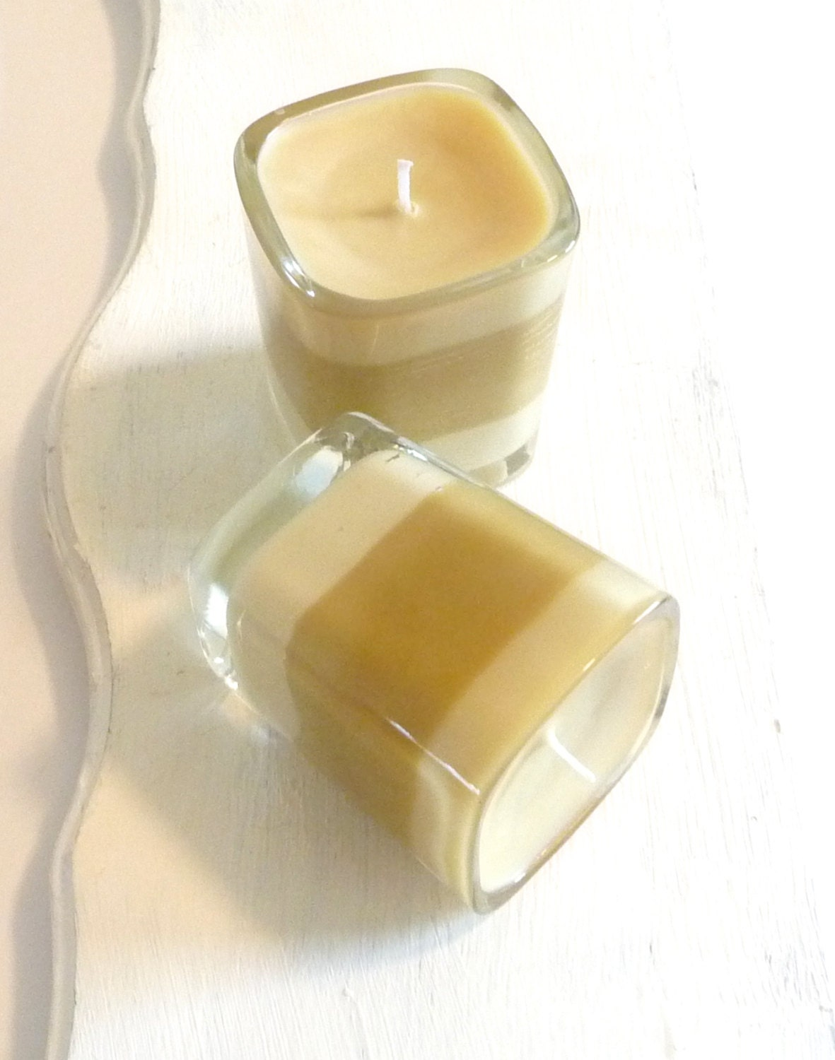 Cafe Mocha Layered Soy Candle in 2 oz Glass Jar, Brown and Beige Candle, Coffee Scented Candle