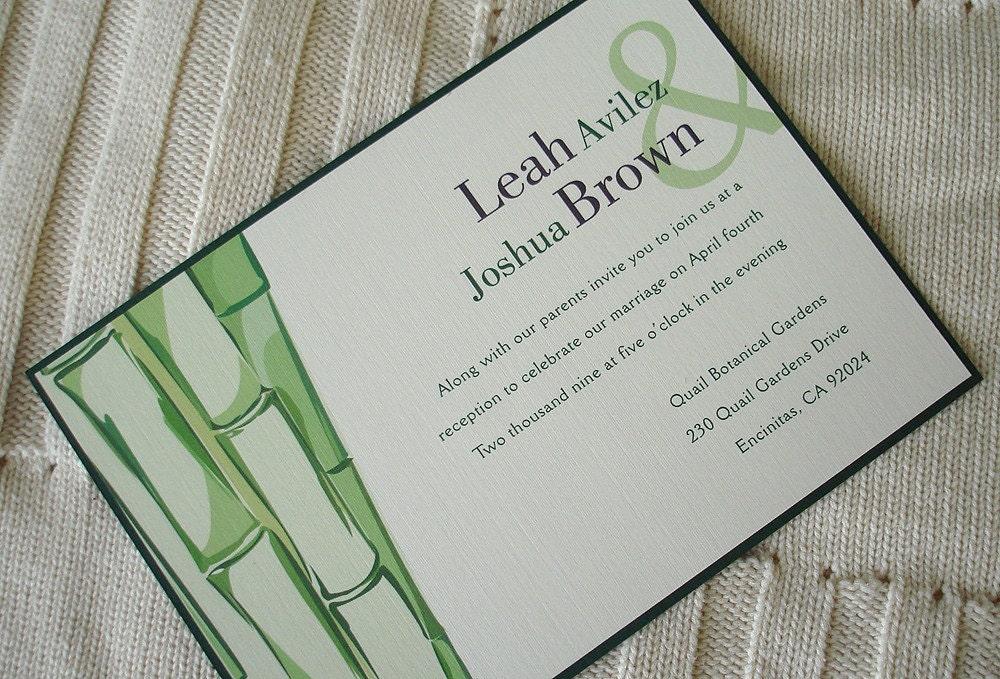 Green Bamboo Wedding Invitation Bridal baby shower sweet sixteen