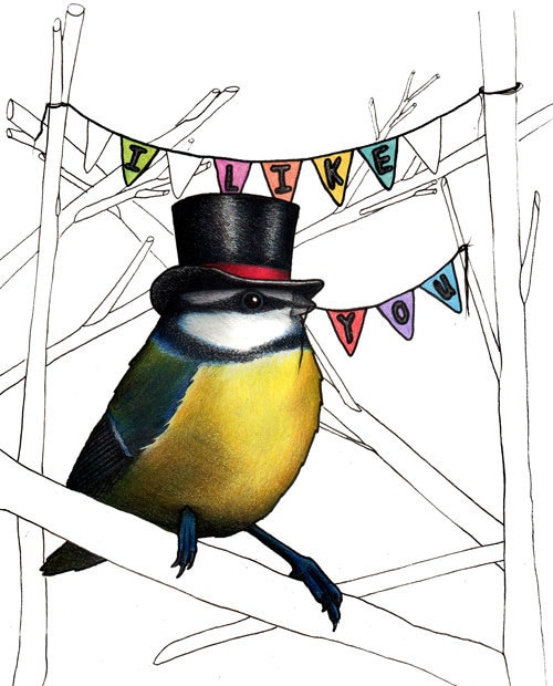 Blue Tit in a Top Hat: A6 'I Like You' Birds in Hats card
